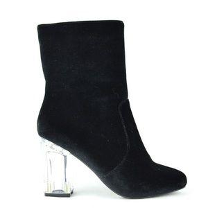 Black Faux Velvet Clear Chunky Heel Booties 8.5/9